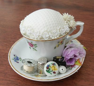 Handmade vintage style mini tea cup pin cushion keep sewing craft gift quilter 5