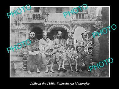 OLD LARGE HISTORIC PHOTO OF INDIA IN THE 1860s, GROUP OF VULBACHARYA MAHARAJAS