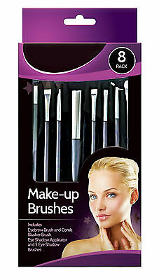 Glamorize 8 Pack Make-up Cosmetic Brush Set, Blusher, Eye Shadow, Eyebrow,Comb