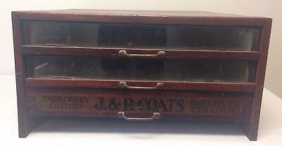 Antique J&P Coats Cottons For All Requirements 3 Drawer Spool Cabinet Boil Fast