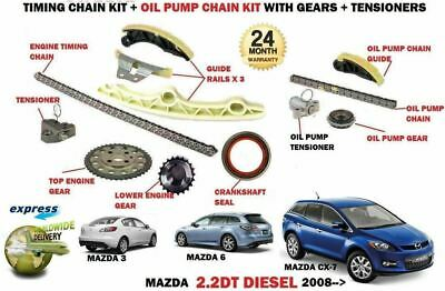 For Mazda 3 6 Cx7 2.2Dt R2Aa Mzr-Cd 2008-> 12 Piece Timing Chain + Oil Pump Kit