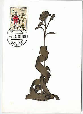 62893 -  MACAU MACAO  - POSTAL HISTORY: MAXIMUM CARD 1968 -  FLOWERS Rose