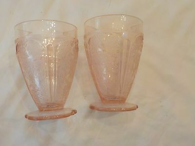 Two Leaf Floral Pattern Pink Depression Glass  Sherberts