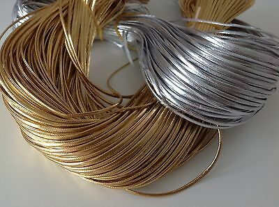 2mm PU Leather Cord GOLD or SILVER thread Lace Thong Jewellery crafts