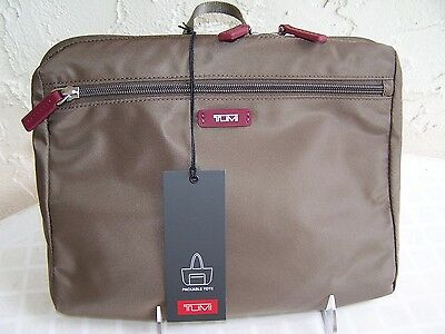 NEW TUMI Denison Packable Tote  Bag Pouch - Brown / Tote - Cranberry & Brown