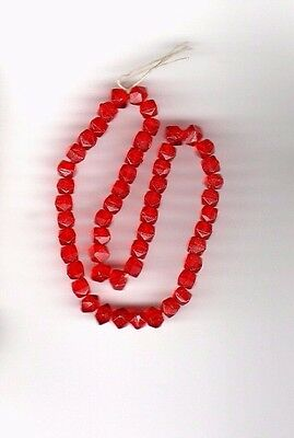 Vintage ruby red rough cut round glass beads--4 mm.