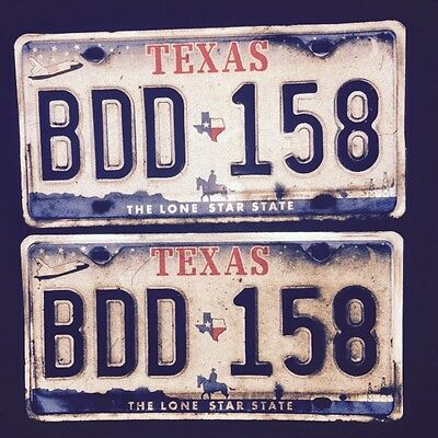 Texas License Plates Pair Lone Star State Space Shuttle Cowboy Oil Well 2007