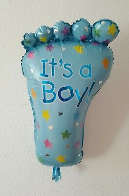 Folienballon 75cm Babyparty Luftballon Baby Shower Fuß neu its a boy blau