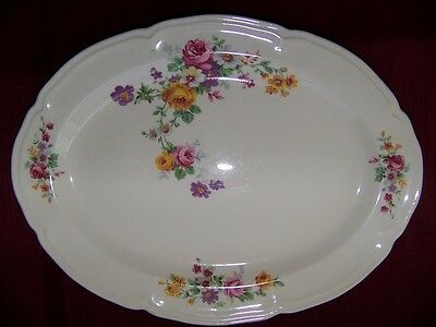 "Edwin Knowles Floral Oval Platter Semi-Vitreous #42-5 11.5"" X 9"" Ex Condition"