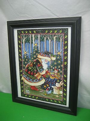 Santa Clause Christmas Presents & Tree Glass Covered Picture ME Mary Engelbreit