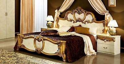 ESF Barocco Glossy Ivory Gold Finish Queen Size Bedroom Set 2Pcs Made in Italy