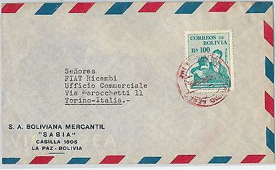 62255 -  BOLIVIA - POSTAL HISTORY - AIRMAIL  COVER to ITALY  1955 - RED POSTMARK