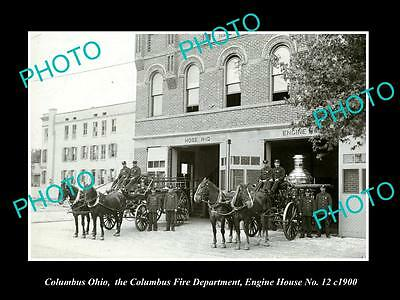 OLD LARGE HISTORIC PHOTO OF COLUMBUS OHIO, THE FIRE DEPARTMENT & STATION c1900