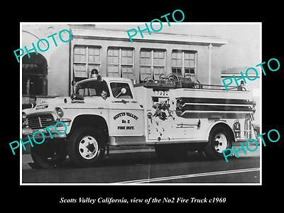 OLD LARGE HISTORIC PHOTO OF SCOTTS VALLEY CALIFORNIA, THE No 2 FIRE TRUCK c1960