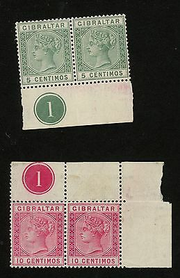 1889 Gibraltar Stamps #29 & 30 Both MINT  Pairs w/ Block  Great Britain Colony