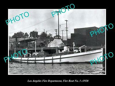 OLD HISTORIC PHOTO OF LOS ANGELES FIRE DEPARTMENT, FIRE BOAT No 1 c1920