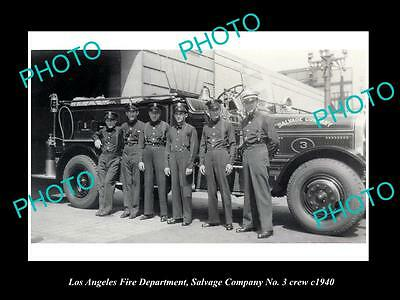 OLD HISTORIC PHOTO OF LOS ANGELES FIRE DEPARTMENT, SALVAGE Co No 3 CREW c1940