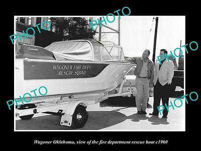 OLD LARGE HISTORIC PHOTO OF WAGONER OKLAHOMA, THE FIRE DEPARTMENT BOAT c1960