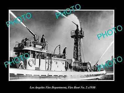 OLD HISTORIC PHOTO OF LOS ANGELES FIRE DEPARTMENT, FIRE BOAT No 2 c1930