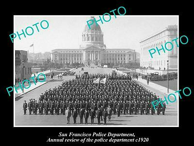 Old Large Historic Photo Of San Francisco Police, The Annual Review Parade 1920