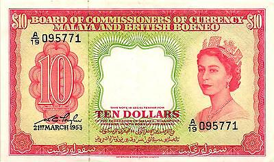A Very Nice 1953 $10.00 Malaya and British Borneo Note - Pick 3a - Extra Fine