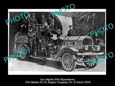 OLD LARGE HISTORIC PHOTO OF LOS ANGELES FIRE DEPARTMENT, STATION 11 TRUCK c1930