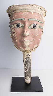 Ancient Egyptian Mummy Bearded Mask with Bronze Eyes late Period c.620 BC.