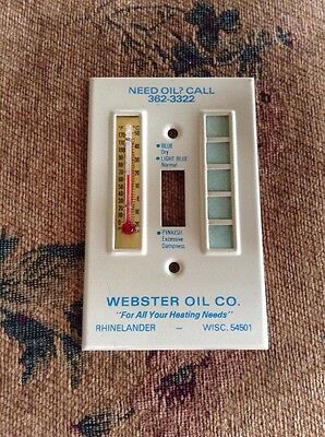 Vintage Webster Oil Co. Metal Switch Plate Cover W/ Thermometer
