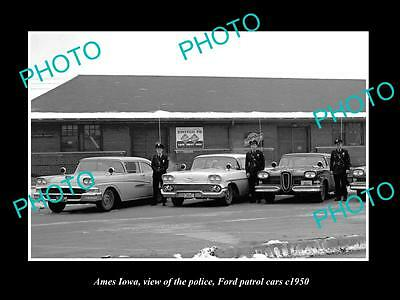 OLD LARGE HISTORIC PHOTO OF AMES IOWA, THE TOWN POLICE FORD PATROL CARS c1950