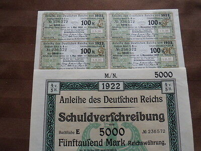 1922 Weimar Germany Not Redeemed 5000 Mark Bond with Coupons