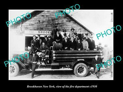 OLD LARGE HISTORIC PHOTO OF BROOKHAVEN NEW YORK, THE FIRE DEPARTMENT CREW c1930