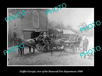 OLD LARGE HISTORIC PHOTO OF GRIFFIN GEORGIA, THE STONEWALL FIRE DEPARTMENT c1900