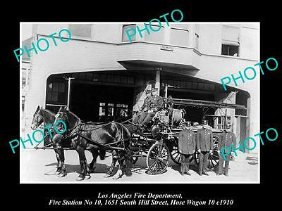 OOLD LARGE HISTORIC PHOTO OF LOS ANGELES FIRE DEPARTMENT, STATION 10 WAGON c1910