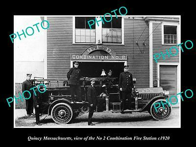 OLD LARGE HISTORIC PHOTO OF QUINCY MASSACHUSETTS, THE No 2 FIRE STATION c1920