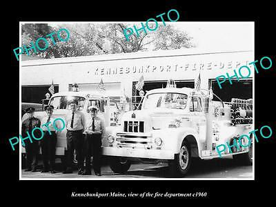 OLD LARGE HISTORIC PHOTO OF KENNEBUNKPORT MAINE, THE FIRE DEPARTMENT TRUCK c1960