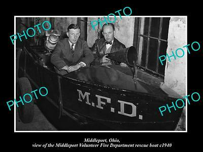 OLD LARGE HISTORIC PHOTO OF MIDDLEPORT OHIO, THE FIRE DEPARTMENT BOAT c1940