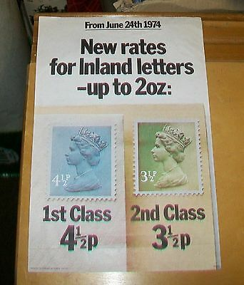 ROYAL MAIL NEW RATES FOR INLAND LETTERS POSTER June 24th 1974 4½p 3½p