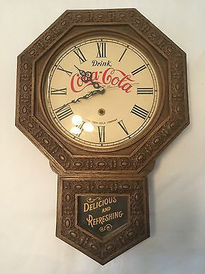 Vintage 1970's USA Battery Operated Drink Coca Cola Coke Working Wall Clock