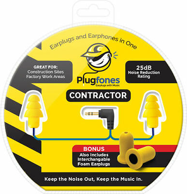 Plugfones Contractor Yellow Ear Plug Earbuds Headphones Hearing Protection CY-1