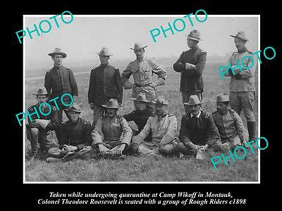 OLD LARGE HISTORIC PHOTO OF PRESIDENT THOEDORE ROOSEVELT WITH ROUGH RIDERS c1898