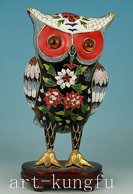 Rare Chinese Old Cloisonne Handmade Carved owl Statue Figure Decoration