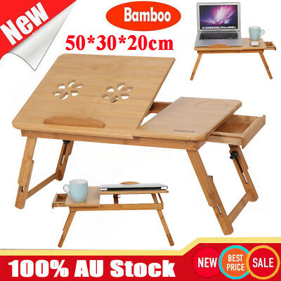 Adjustable Folding Bamboo Laptop Table Desk Notebook Computer Reading Bed Tray