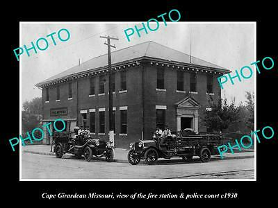OLD LARGE HISTORIC PHOTO OF CAPE GIRARDEAU MISSOURI, THE FIRE DEPARTMENT c1930
