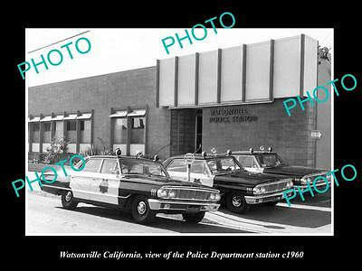 OLD LARGE HISTORIC PHOTO OF WATSONVILLE CALIFORNIA, THE POLICE DEPARTMENT c1960
