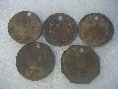 Antique Lot Of Brass Livestock Cattle Identification Tags Estate Find # 6