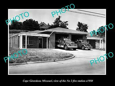 OLD LARGE HISTORIC PHOTO OF CAPE GIRARDEAU MISSOURI, THE FIRE DEPARTMENT c1950