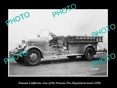 OLD LARGE HISTORIC PHOTO OF POMONA CALIFORNIA, THE FIRE DEPARTMENT TRUCK c1930