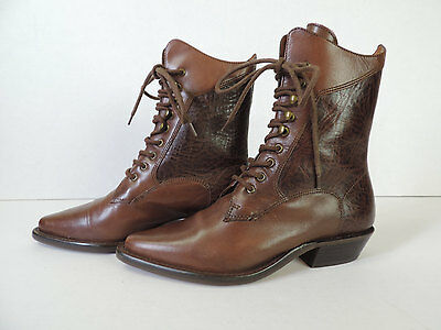 Vintage Granny Boots 1980's Brown Leather Lace Up Ankle Western Boots, 5 1/2 M