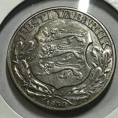 1930 Estonia 2 Krooni Silver Large Coin 1 Yr Type And Scarce