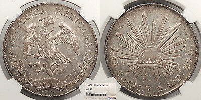MEXICO 1890-Zs FZ 8 Reales NGC AU-58